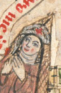 Replaced head of the nun adoring John the Evangelist in the Medingen Psalter in Hamburg HH8, fol. 10r